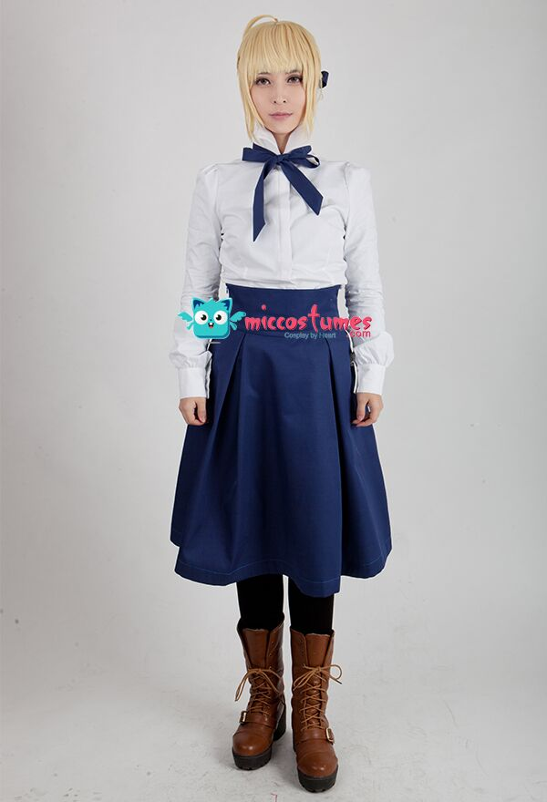 Fate Stay Night Saber Casual Cosplay Costume