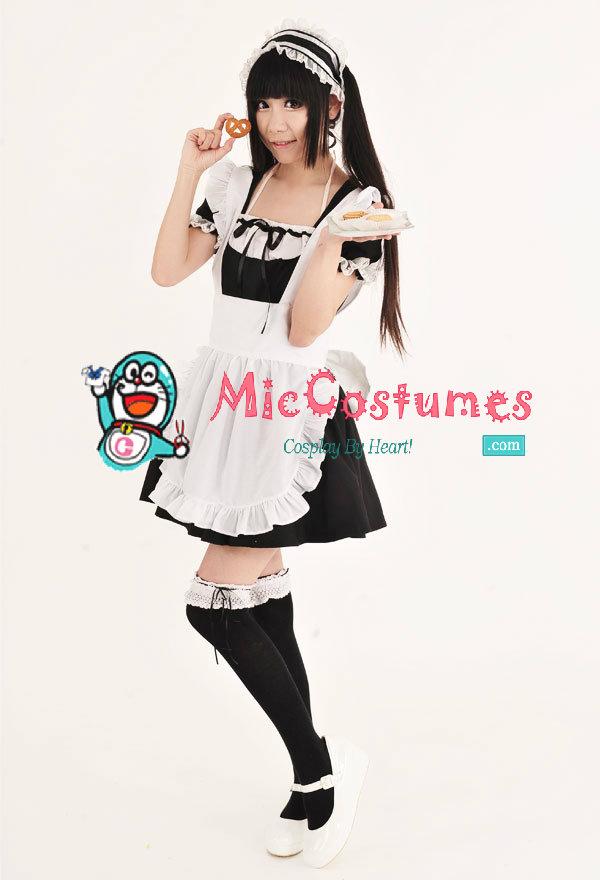classic japanese maid café costume