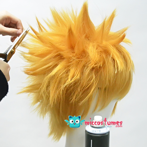 Trim a little first. Spray and use hand to help the hair stand in wisps. Cut  again properly and apply some spray again to keep the hair spike shaped. wig  l b01fceaa5